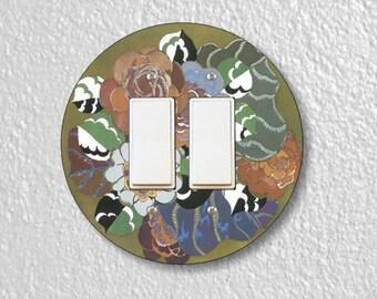 Floral Art Deco Art Nouveau Round Decora Double Rocker Switch Plate Cover