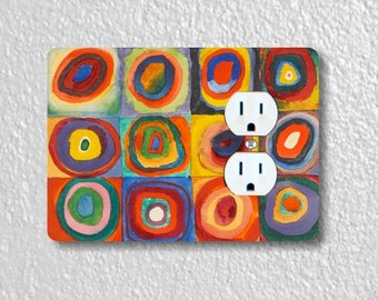 Kandinsky Squares With Concentric Circles Painting Duplex Outlet Plate Cover