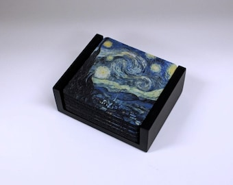 Vincent Van Gogh Starry Night Painting Coaster Set of 5 with Wood Holder