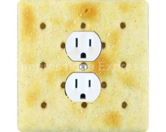 Saltine Cracker Square Duplex Outlet Plate Cover