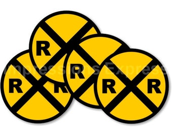 Railroad Crossing Sign Coasters - Set of 4