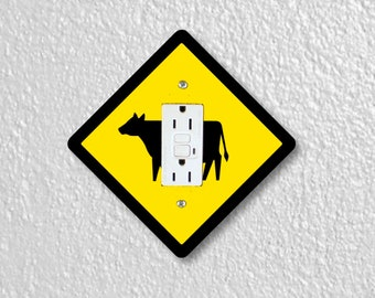 Cattle Crossing Sign Grounded GFI Outlet Plate Cover