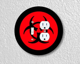 Biohazard Sign Round Toggle Switch and Duplex Outlet Double Plate Cover