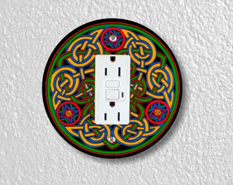 Celtic Knot Round GFI Grounded  Outlet Plate Cover