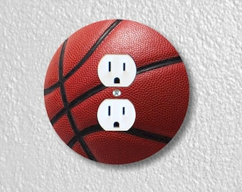 Burgundy Basketball Sport Round Duplex Outlet Plate Cover