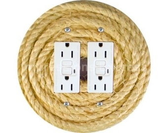 Nautical Sisal Rope Double GFI Outlet Plate Cover
