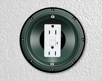 Black Music Loudspeaker Round Grounded GFI Outlet Plate Cover