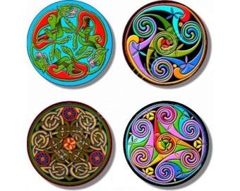 Celtic Design Round Coasters - Set of 4