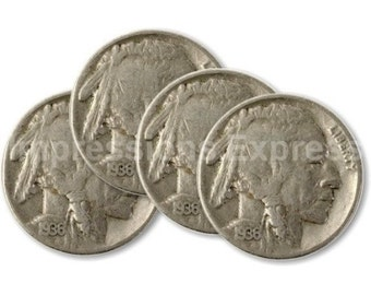 Indian Head Nickel Coin Coasters - Set of 4
