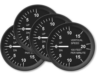 Vertical Speed Indicator Aviation Coasters - Set of 4