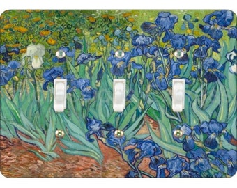 Van Gogh Irises Painting Triple Toggle Light Switch Plate Cover