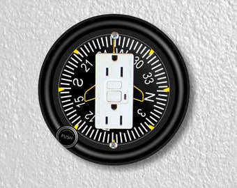 Direction Heading Indicator Aviation Round GFI Grounded Outlet Plate Cover