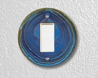Blue Geode Stone Round Decora Rocker Switch Plate Cover