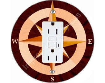Nautical Compass GFI Outlet Plate Cover