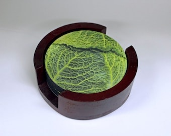 Cabbage Coaster Set of 5 with Wood Holder