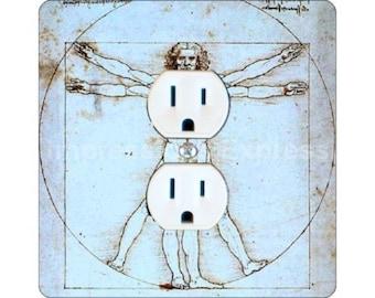Vitruvian Man Da Vinci Drawing Square Duplex Outlet Plate Cover