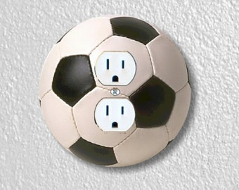 218D Double Soccer Light Switch Cover Wall Decor Soccer  Switch Plate in Goal