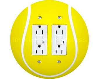 Tennis Ball Double GFI Grounded Outlet Plate Cover