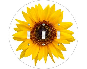 Sunflower Flower Triple Toggle Switch Plate Cover