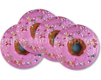Pink Doughnut Coasters - Set of 4
