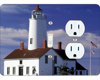Lighthouse Nautical Toggle Switch and Duplex Outlet Double Plate Cover