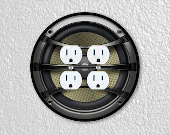 Audio Music Speaker Round Double Duplex Outlet Plate Cover