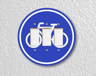 Bicycle Sign Round Triple Decora Rocker Switch Plate Cover