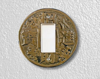 Chinese Fortune Coin Round Decora Rocker Switch Plate Cover