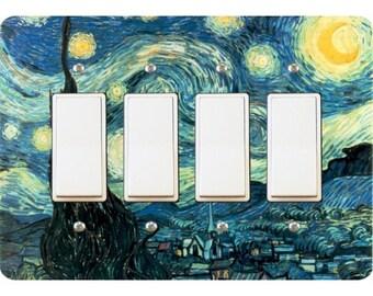 Starry Night Van Gogh Painting Quadruple Decora Rocker Light Switch Plate Cover