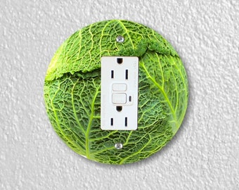 Cabbage Round Grounded GFI Outlet Plate Cover