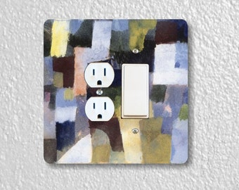 Paul Klee Painting Square Double Duplex Outlet And Decora Rocker Light Switch Plate Cover