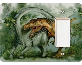 Rebbachisaurus and Giganotosaurus Dinosaur Decora Rocker Light Switch Plate Cover