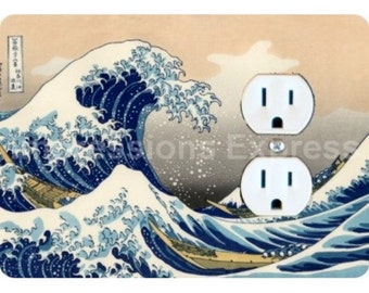 Kanagawa Great Wave Hokusai Painting Duplex Outlet Plate Cover