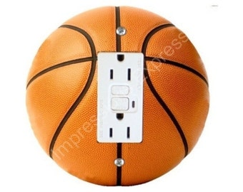 Orange Basketball Grounded GFI Outlet Plate Cover