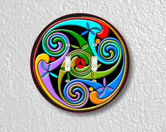 Celtic Triskelion Round Double Toggle Light Switch Plate Cover