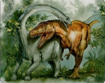 Rebbachisaurus and Giganotosaurus Dinosaur Mousepad