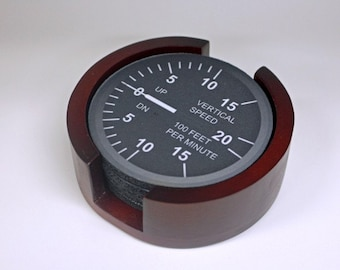 Vertical Speed Indicator Aviation Coaster Set of 5 with Wood Holder
