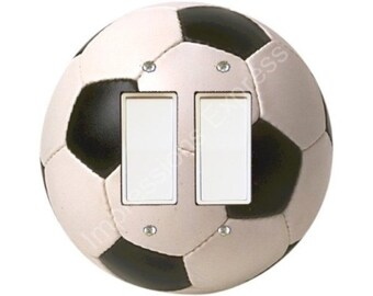 Soccer Sports Ball Decora Double Rocker Switch Plate Cover A