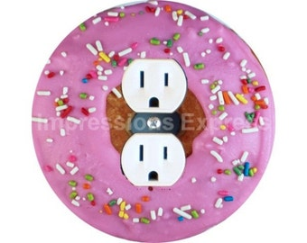 Pink Doughnut Duplex Outlet Plate Cover