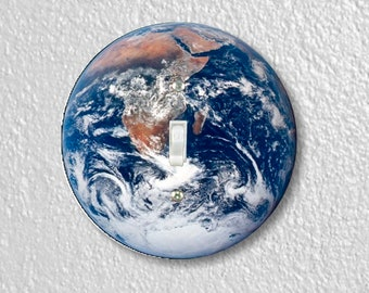 Planet Earth from Space Round Single Toggle Switch Plate Cover