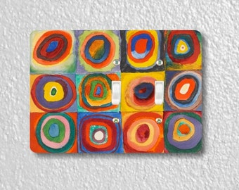 Kandinsky Squares With Concentric Circles Painting Double Toggle Light Switch Plate Cover