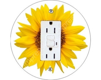 Sunflower Flower Grounded GFI Outlet Plate Cover