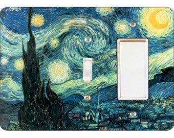 Starry Night Van Gogh Painting Toggle and Decora Rocker Double Switch Plate Cover