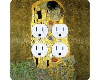 Gustav Klimt The Kiss Square Double Duplex Outlet Plate Cover