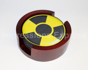 Radioactive Sign Coaster Set of 5 with Wood Holder