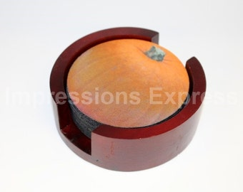 Pumpkin Coaster Set of 5 with Wood Holder