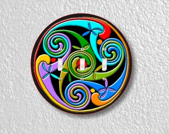 Celtic Triskelion Round Triple Toggle Light Switch Plate Cover