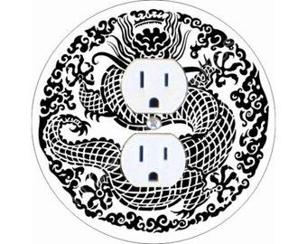Oriental Dragon Duplex Outlet Plate Cover