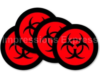 Limited Time Sale! Biohazard Sign Round Coasters - Set of 4