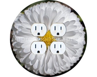 White Daisy Flower Double Duplex Outlet Plate Cover